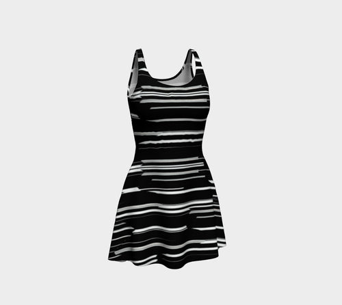 Smeared Stripe Flare Dress