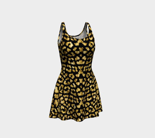 Gold Glitter Leopard Flare Dress