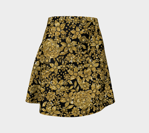 Gold Foil Flowers Flare Skirt
