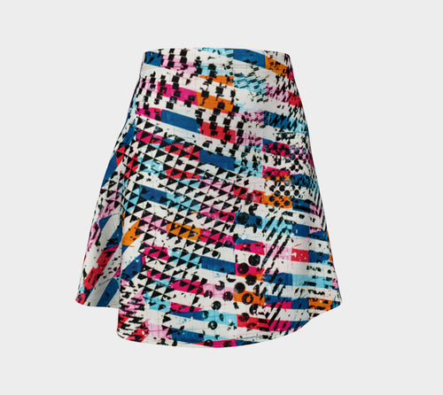 Patternmix Block Print Flare Skirt