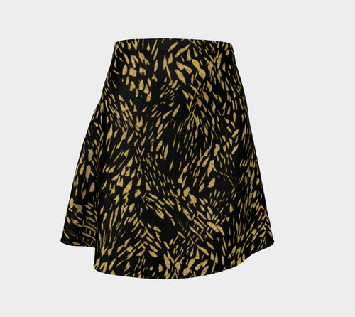 Gold Foil Brushstroke Flare Skirt