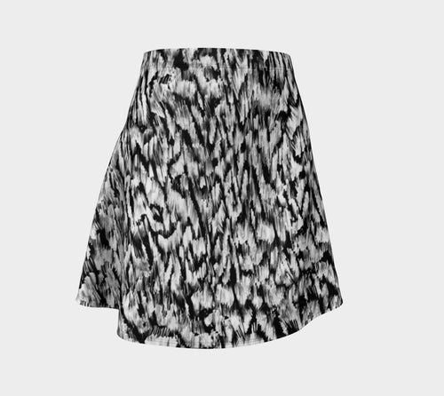 Black + White Animal Flare Skirt