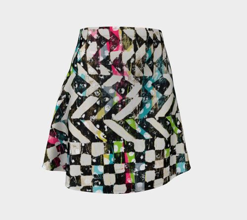 Checkered Canvas Flare Skirt