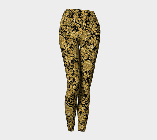 Gold Foil Flowers Leggings