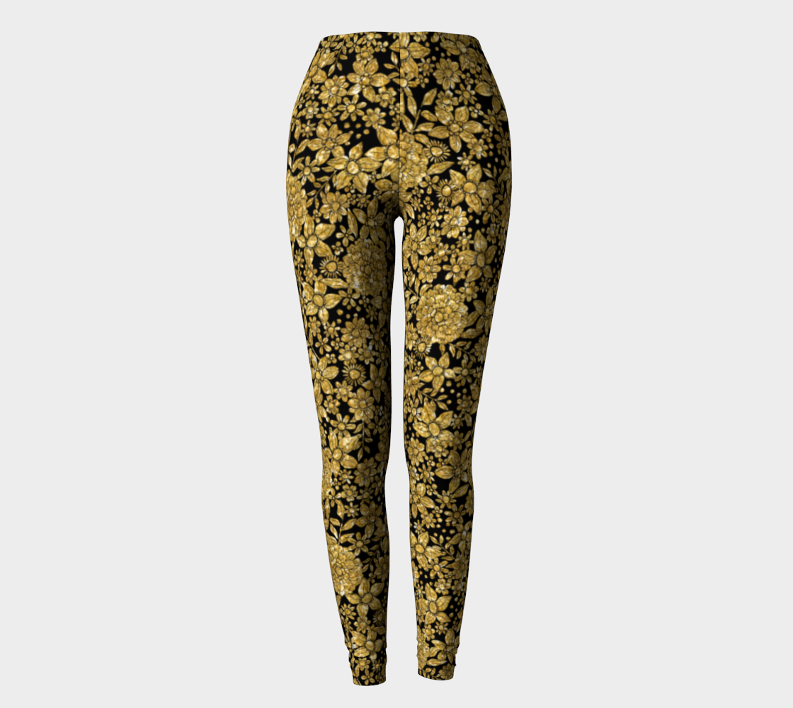Gold Foil Flowers Leggings Leggings  Roxie Rudolph Roxie Rudolph Roxie Rudolph