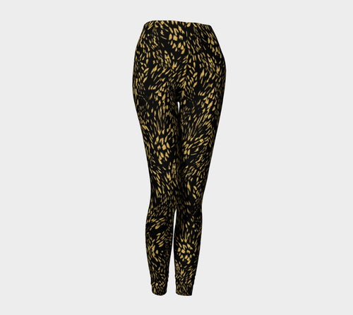 Gold Foil Brushstroke Leggings