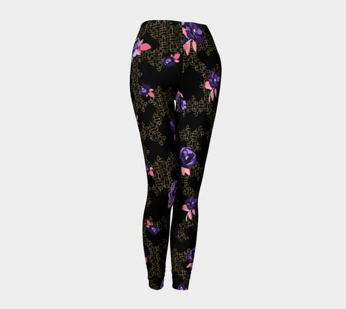 Gold Link Flowers Leggings