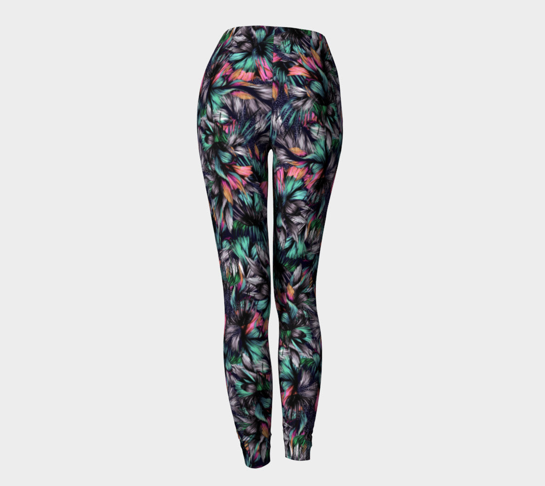 Feathery Tropical Leggings Leggings  Roxie Rudolph Roxie Rudolph Roxie Rudolph