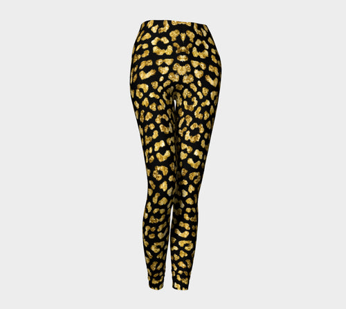 Gold Glitter Leopard Leggings