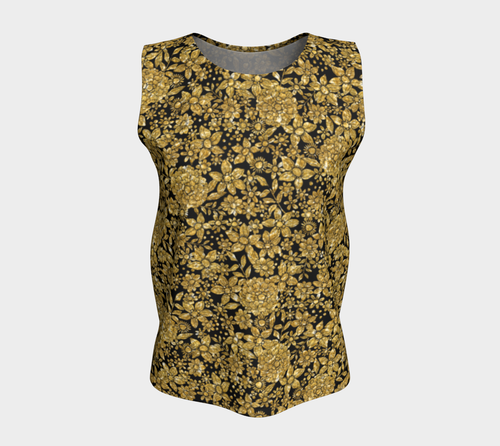 Gold Foil Flowers Loose Tank Top/Long Length