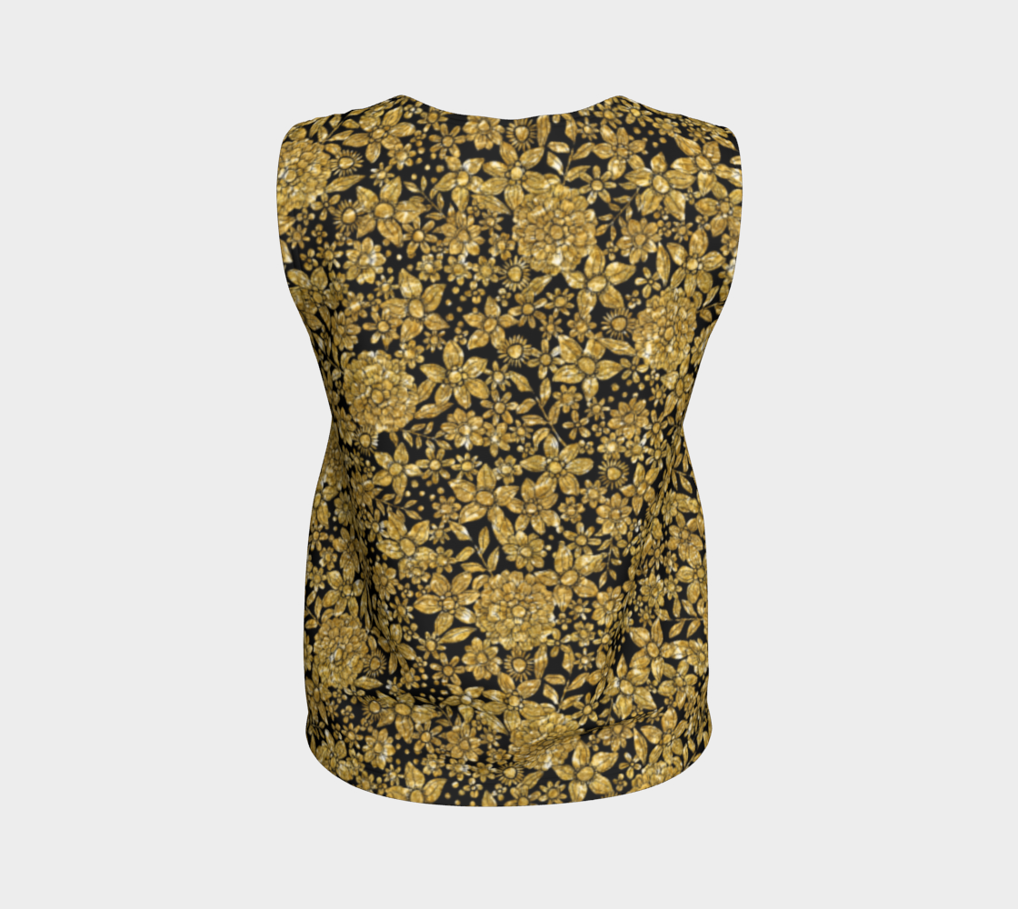 Gold Foil Flowers Loose Tank Top/Regular Length Loose Tank Top (Regular)  Roxie Rudolph Roxie Rudolph Roxie Rudolph