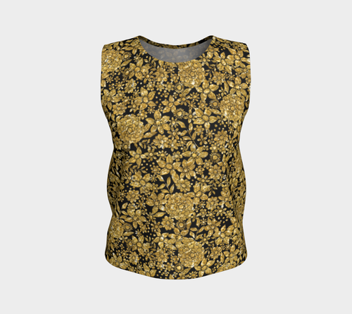 Gold Foil Flowers Loose Tank Top/Regular Length