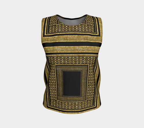 Gold Foil Frame Loose Tank Top/Regular Length