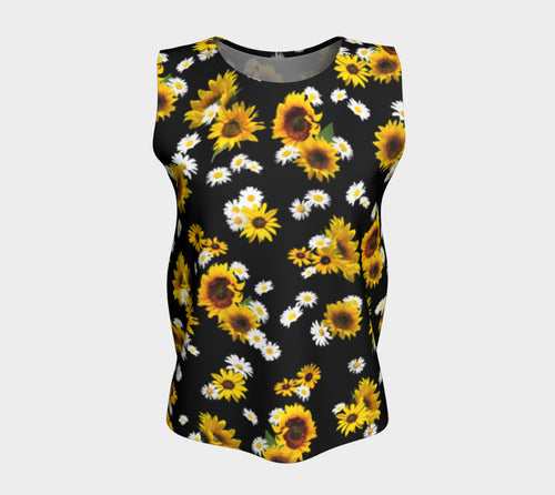 Sunflowers and Daisies Loose Tank Top/Long Length