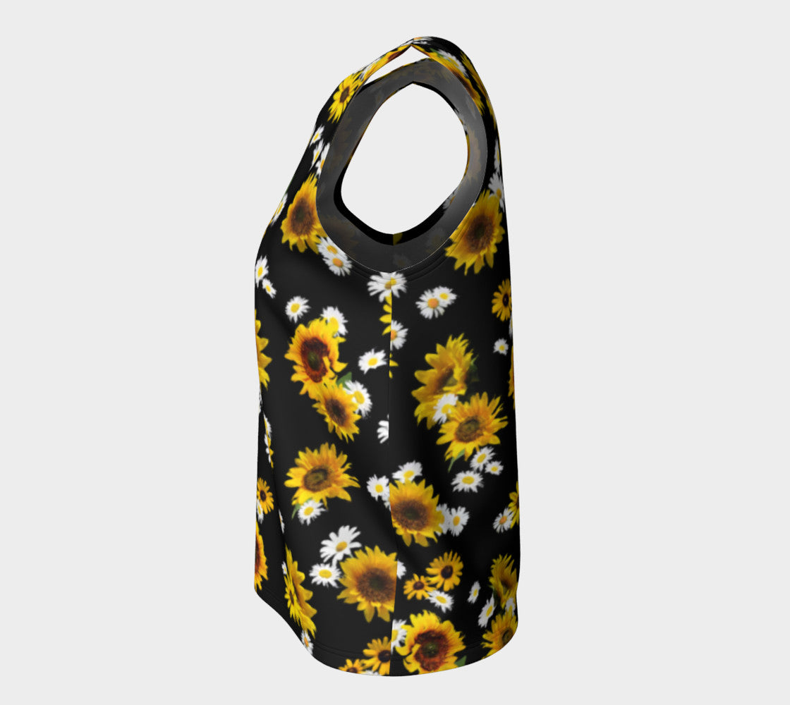 cf66275cb4ac6 Sunflowers and Daisies Loose Tank Top Long Length – Roxie Rudolph