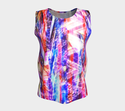 Zig Zag Overlay Loose Tank Top/Long Length