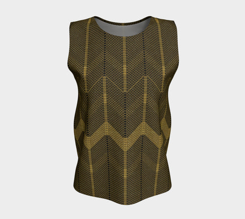 Gold Foil Mesh Loose Tank Top/Long Length
