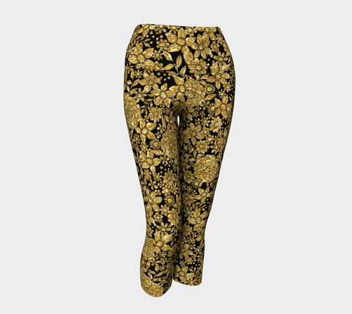 Gold Foil Flowers Yoga Capris