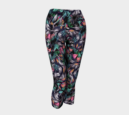 Feathery Tropical Yoga Capris