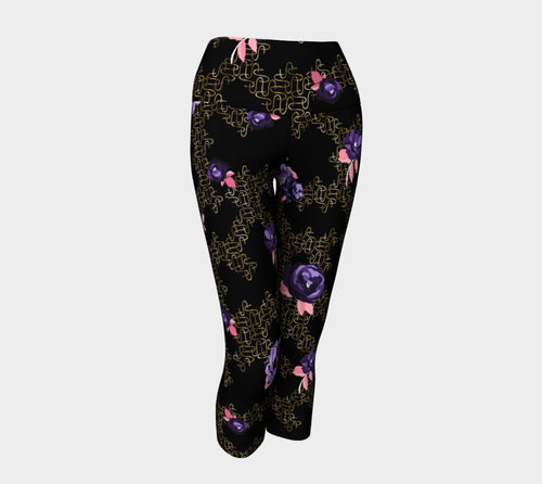 Gold Link Flowers Yoga Capris