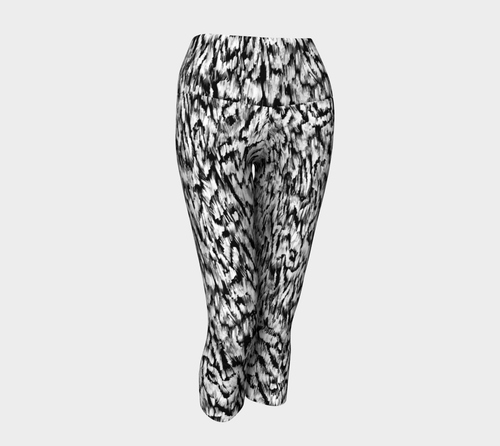Black + White Animal Yoga Capris