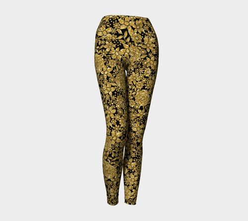 Gold Foil Flowers Yoga Leggings