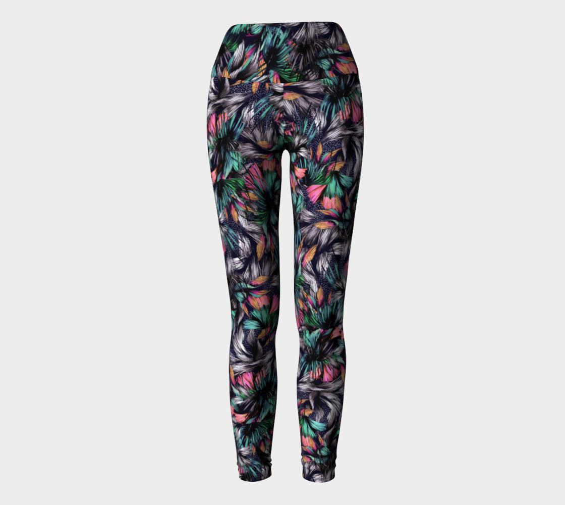 Feathery Tropical Yoga Leggings Yoga Leggings  Roxie Rudolph Roxie Rudolph Roxie Rudolph