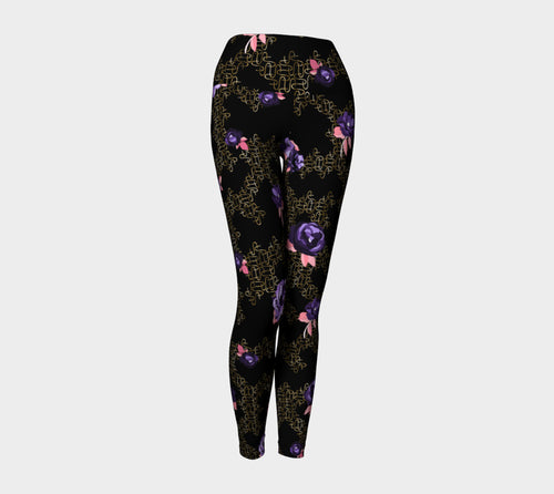 Gold Link Flowers Yoga Leggings