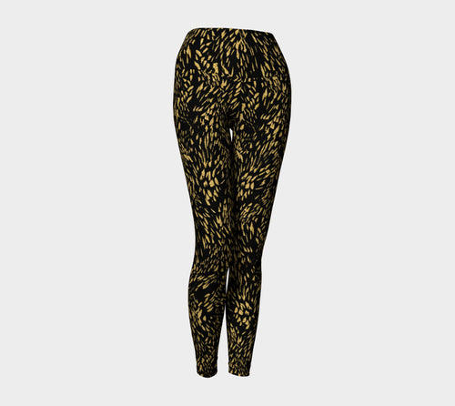 Gold Foil Brushstroke Yoga Leggings