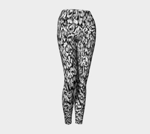 Black + White Animal Yoga Leggings