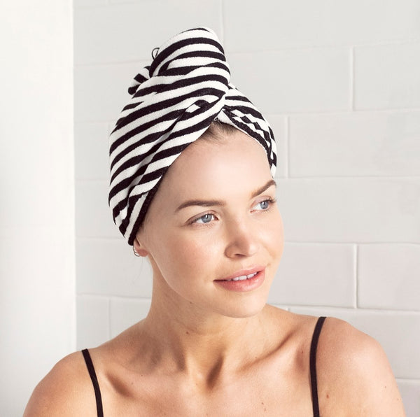RIVA Hair Towel Wrap in Monochrome Stripe
