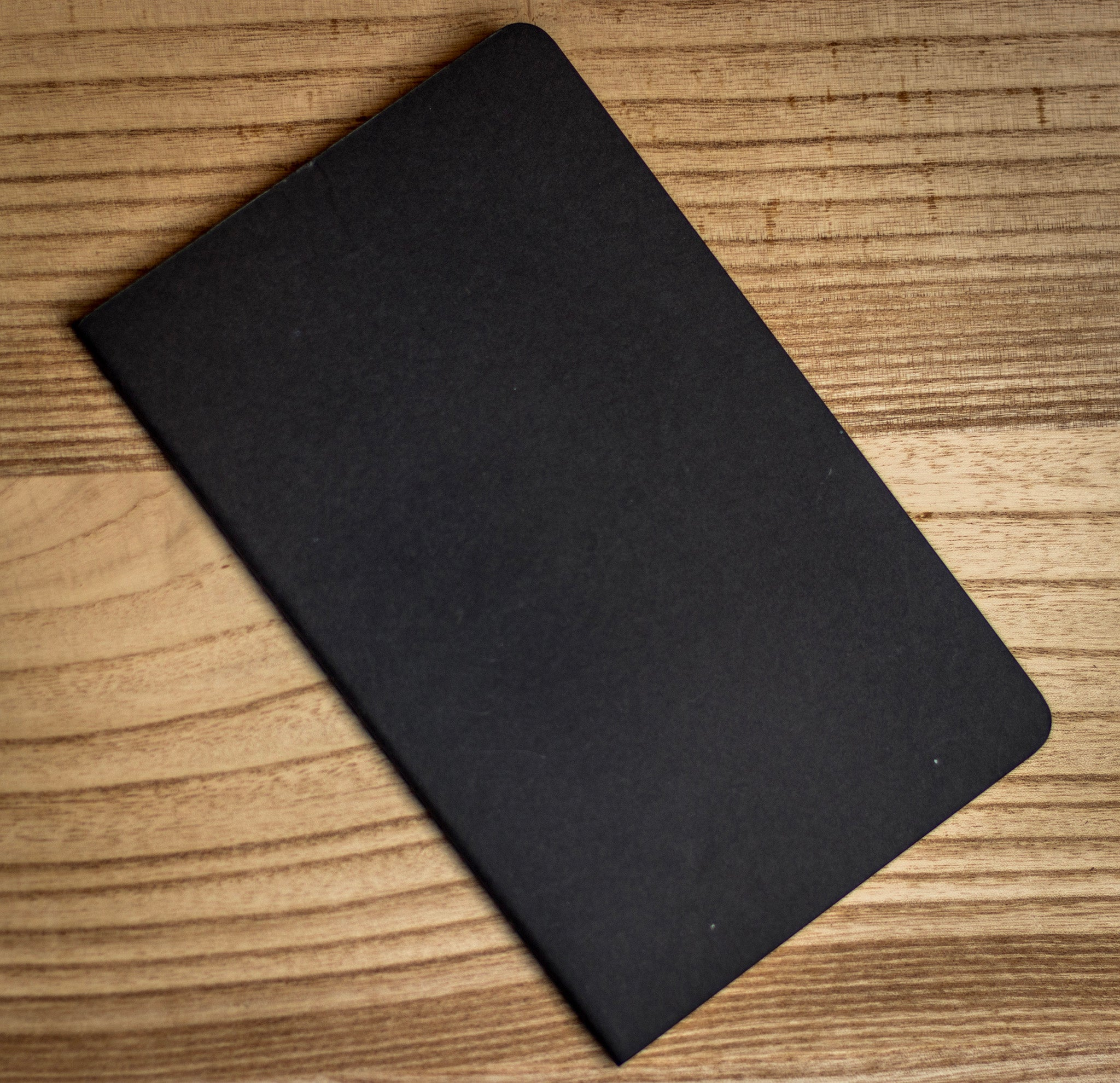 Black Moleskine ruled notebook.
