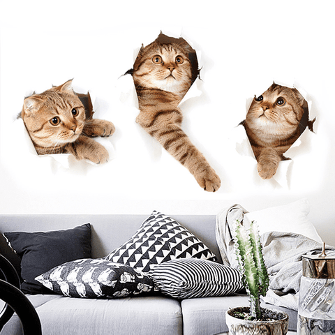 Bewildered Stuck Kitten Wall Stickers Wall Sticker