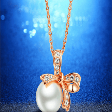 Bowknot Pendant Necklace Rose Gold Necklace