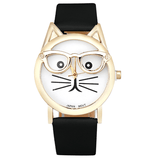 Cute Specs Cat Watch Black watch