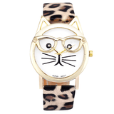 Cute Specs Cat Watch Leopard watch