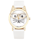Cute Specs Cat Watch White watch