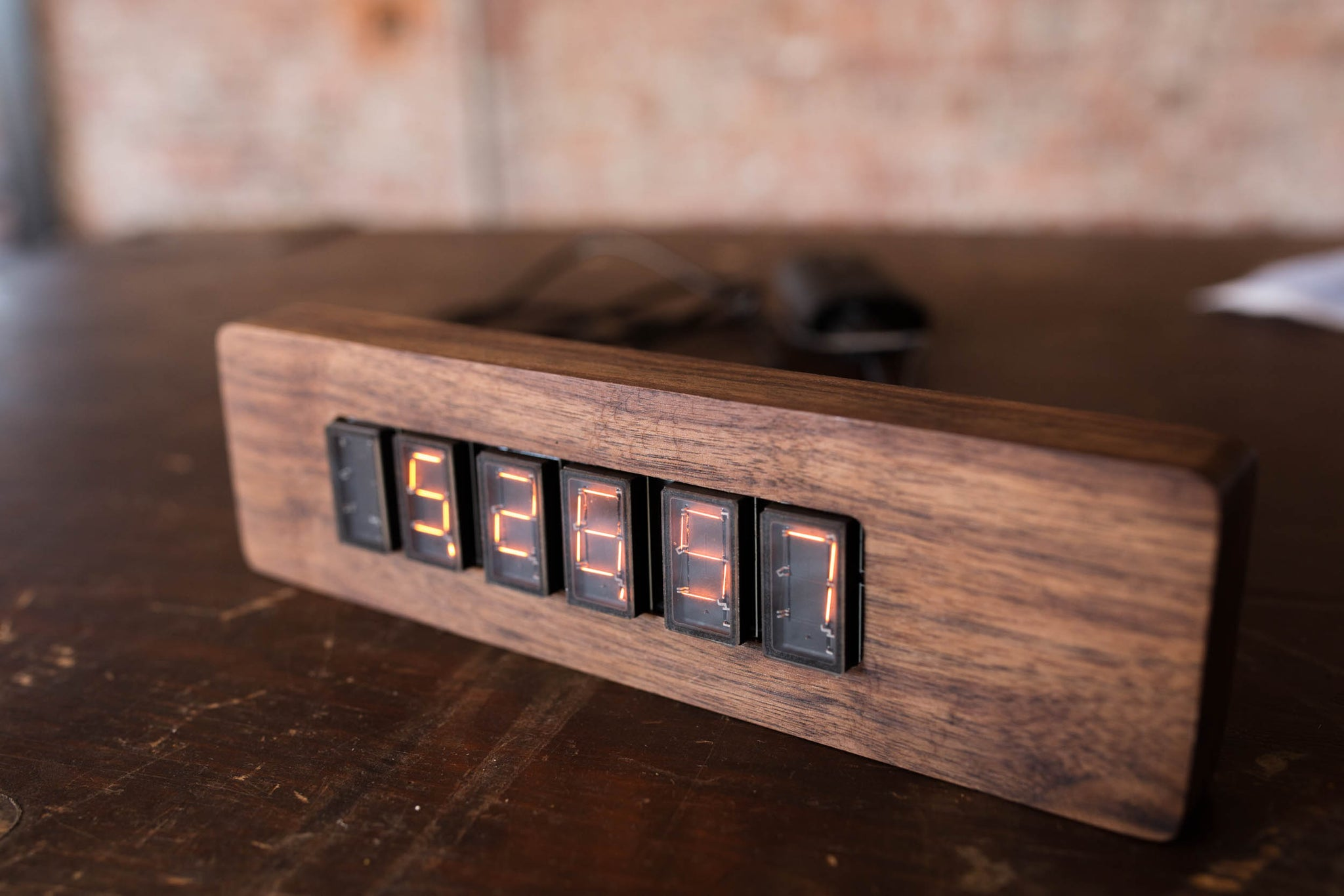 Apollo Numitron Flat-Tube Filament Clock - Solid Walnut