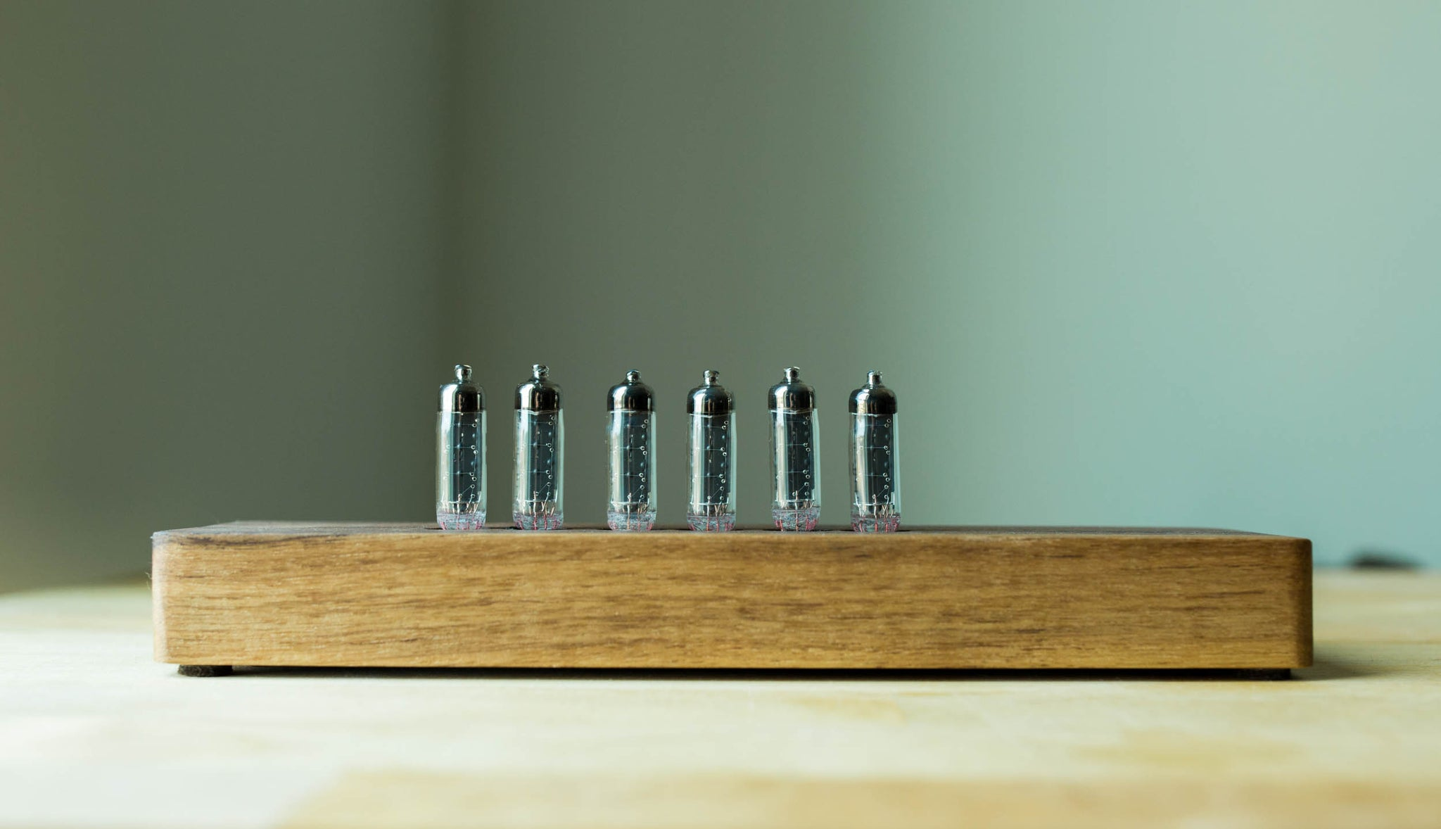 Russian Numitron Nixie Tube Clock - Solid Walnut