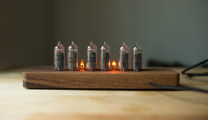 Nixie Tube Clock - Solid Walnut