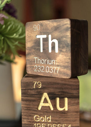 Thorium (Th): Periodic Table Atomic Element Carved Wooden Box - Walnut Hardwood