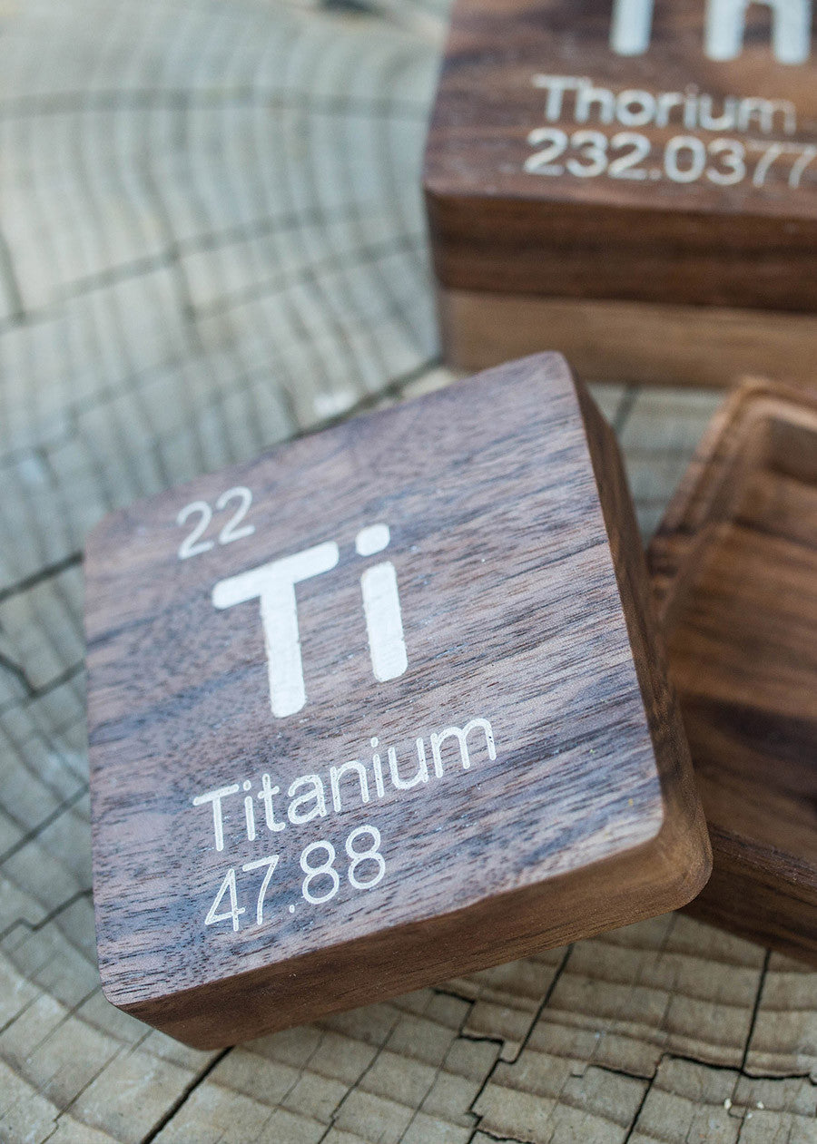 Titanium (Ti): Periodic Table Atomic Element Carved Wooden Box - Walnut Hardwood