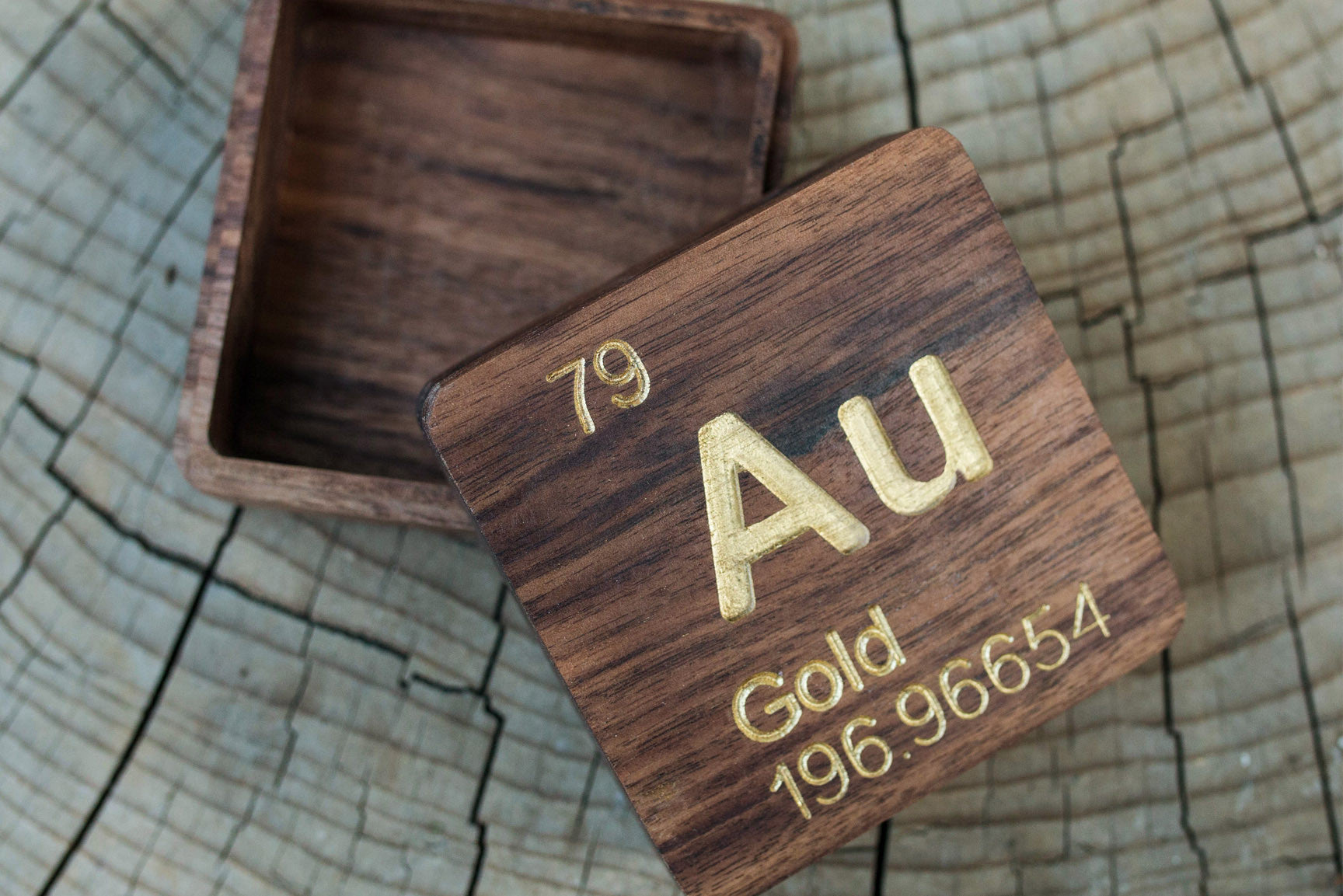 Gold au periodic table atomic element carved wooden box walnut gold au periodic table atomic element carved wooden box walnut hardwood urtaz Gallery