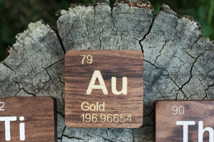 Gold (Au): Periodic Table Atomic Element Carved Wooden Box - Walnut Hardwood