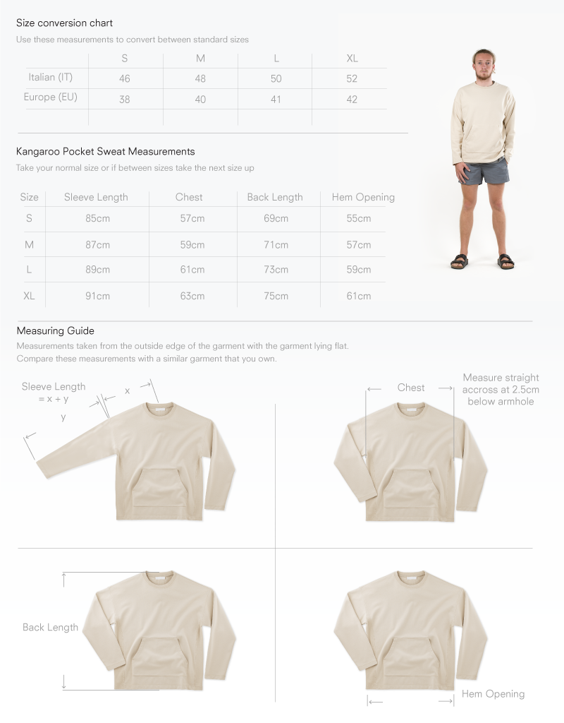 Size chart for Kangaroo Pocket Sweat