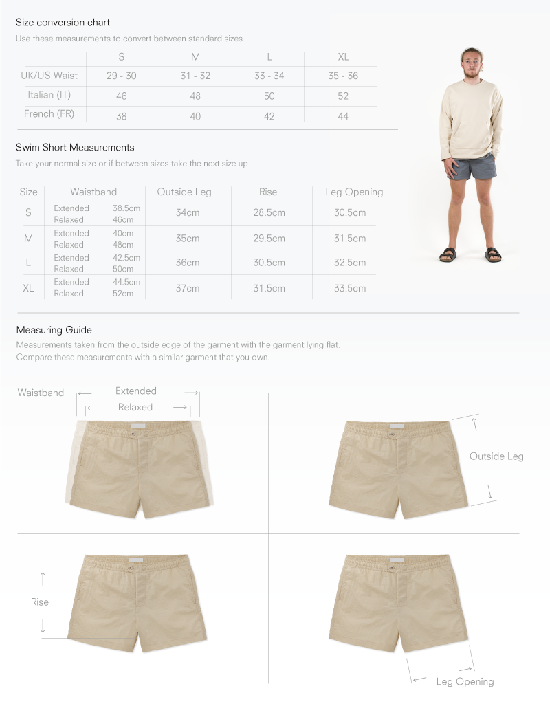 Size chart for Button Fly Swim Short
