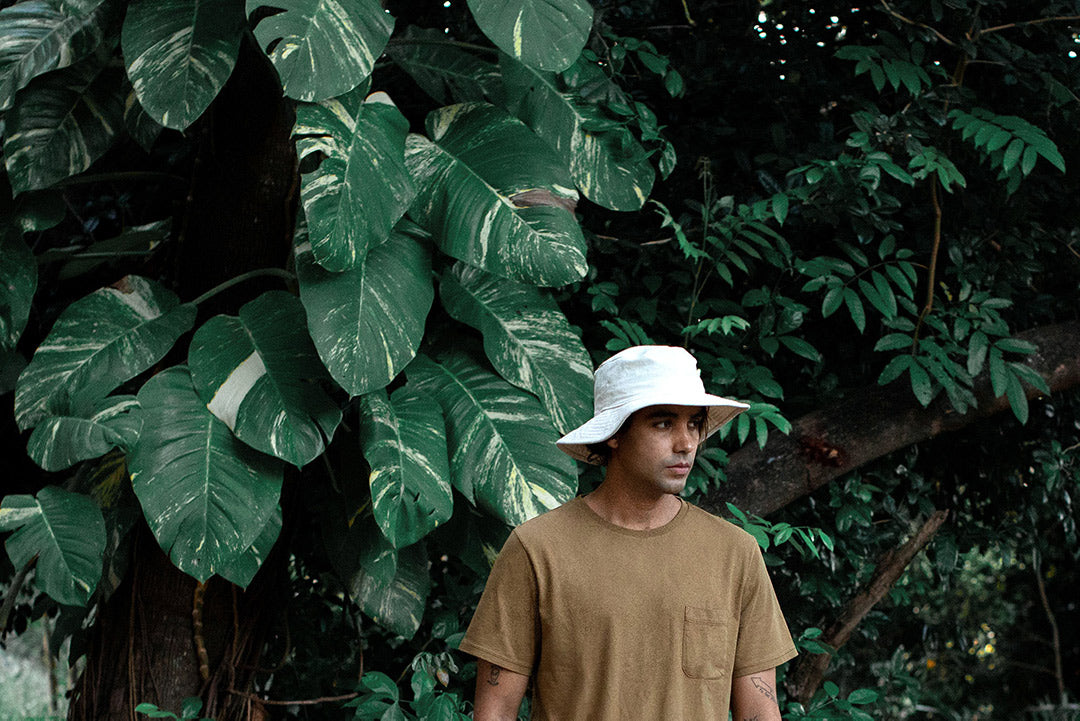 Gabriel in Pocket T-shirt and Canvas Bucket Hat