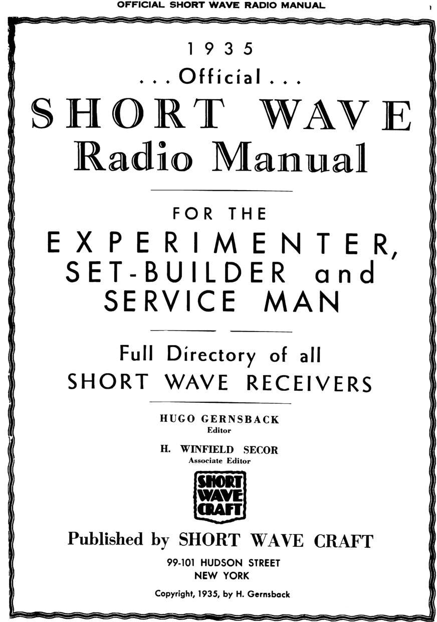 1935 Official Short Wave Manual