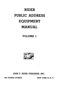 Rider's Public Address Equipment Manual Volume 1