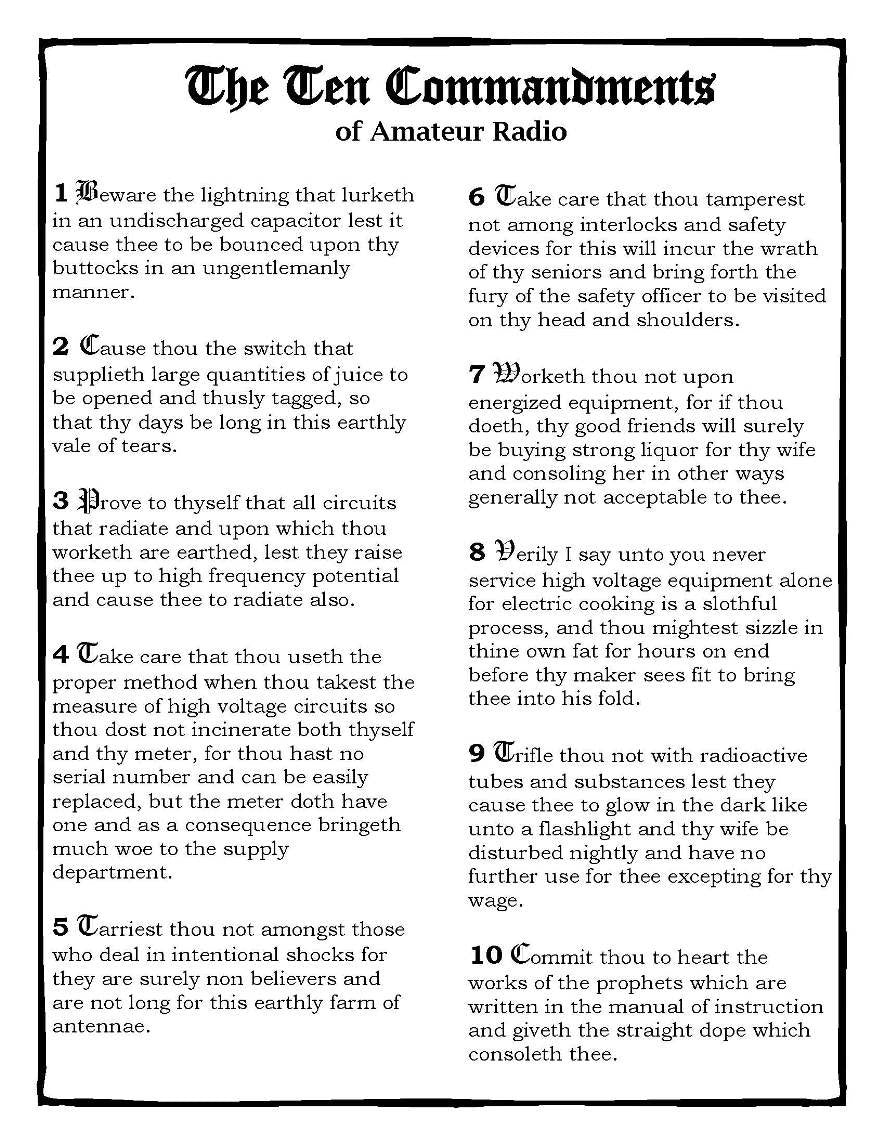The 10 Commandments of Amateur Radio